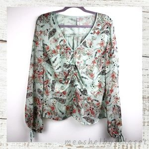 Xhilaration Sage Green Floral Print Button Up Top